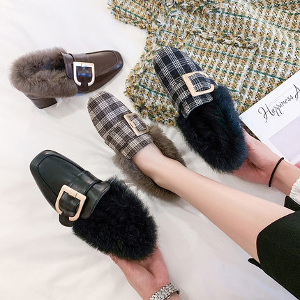Hairy single shoes female 2019 new wild thick with the British wind a pedal small shoes 33