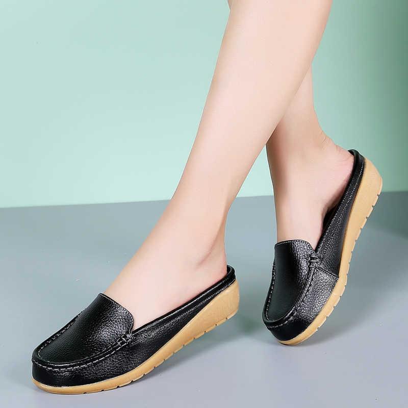 Mới 2019 Chắc Chắn Giày Sandal Nữ Mùa Hè Dép Xỏ Ngón Da Thật Chính Hãng Da Đế Bằng Nữ Slip On Đế Đựng Quần Áo Giày Người Phụ Nữ