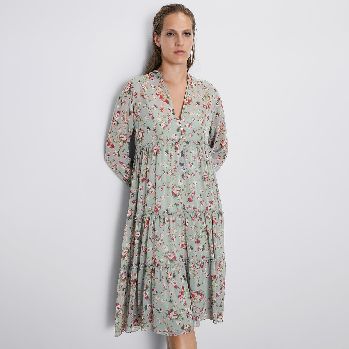 Jastie Floral Print Dress V-Neck Long Sleeve Autumn Dresses Ruffle Hem Hippie Chic Boho Dress Casual Beach Midi Dresses Vestidos
