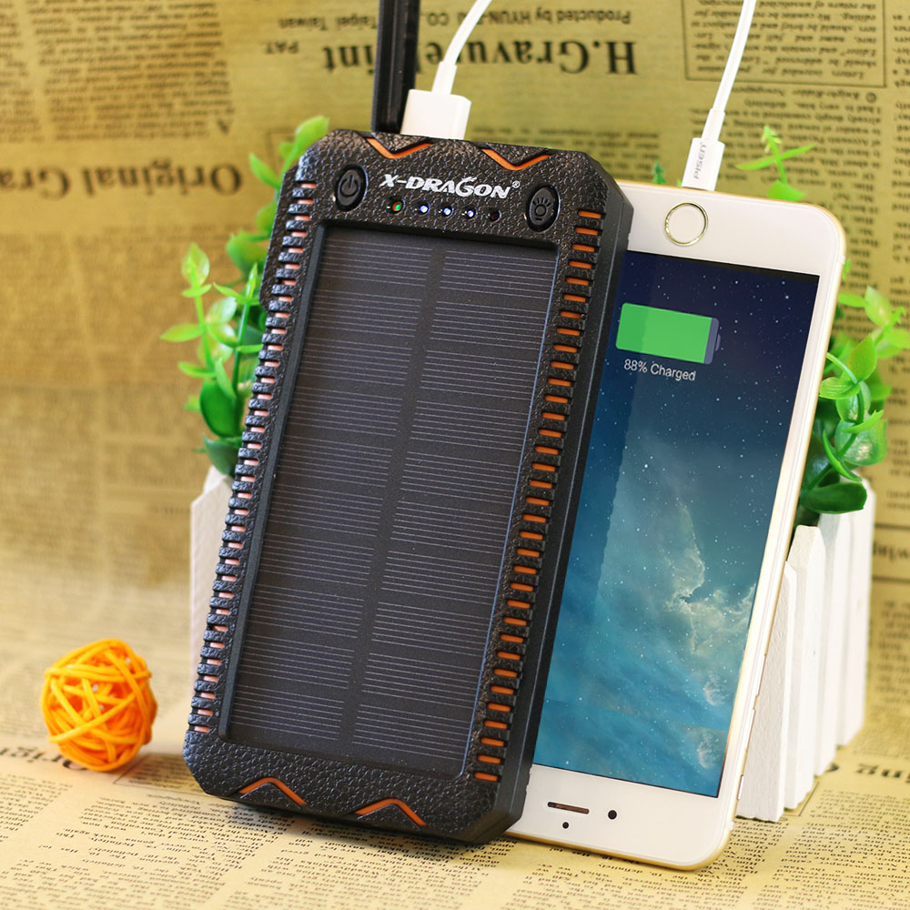 Waterproof Solar Power Bank with Cigarette Lighter and Dual USB Output Ports for Smartphone Charging 7