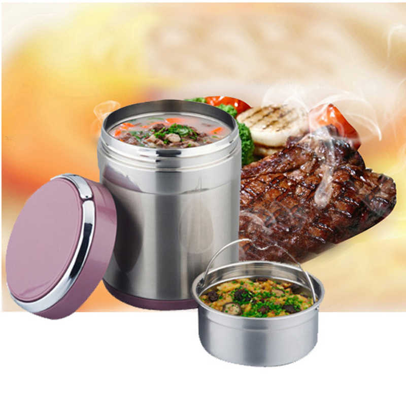 1/1.5L Capacity Stainless Steel Thermal Lunch Bento Box Food Storage Container Heat Insulation Barrels Vacuum Stew Pot