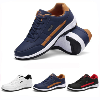Men Casual Sneakers PU Leather Running Shoes Fashion Lace Up Business Casual Shoes Male Outdoor Walking Jogging Sports Shoes