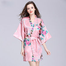 Mother of The Bride Silk Bride of Mother Robe Peacock Print Sexy Women Short Satin Wedding Kimono Sleepwear Get Ready Robes peacock print satin kimono robe with belt