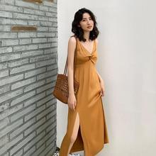 Ladies Summer Evening Party Dress Elegant Romantic Bodycon Slit Spaghetti Strap Golden Satin Dresses Vestidos Women Clubwear