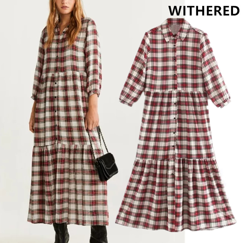 Withered England Style Vintage Plaid Elegant Cascading Loose Party Midi Dress Women Vestidos De Fiesta De Noche Vestidos Blazer