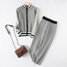 Women Clothing Knitted-Suit Wide-Leg-Pants Sweater Two-Piece-Set Houndstooth Fashion