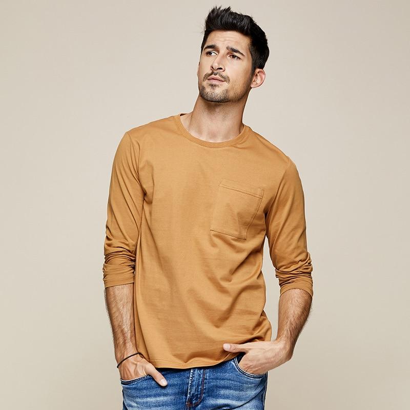 KUEGOU 2019 Autumn 100% Cotton Pocket Plain White T Shirt Men Tshirt Brand T-shirt Long Sleeve Tee Shirt Fashion Clothes 7741
