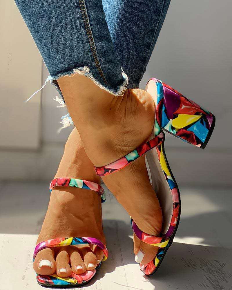 Mixed Colors Platform Slipper Chunky High Heels Pumps Sandles Woman Pu Leather Slippers Square Heel Shoes Large Size 35-43