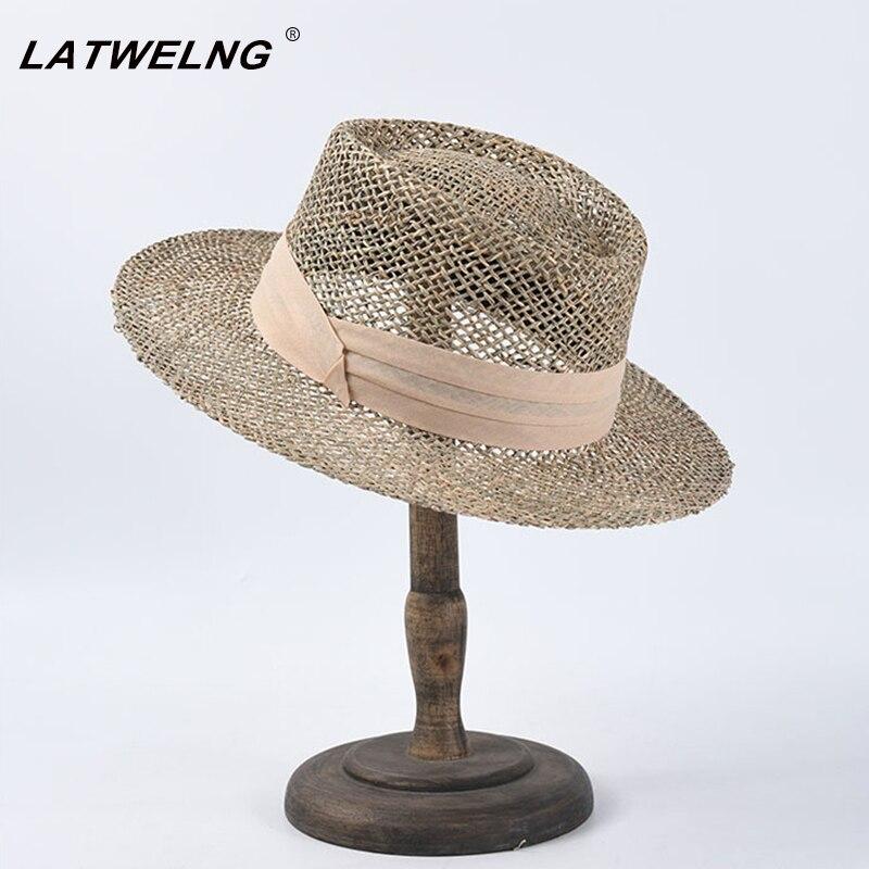 Women Salty Grass Sun Visor Hats Fashion Hollow Ladies Summer Panama Hat Wholesale