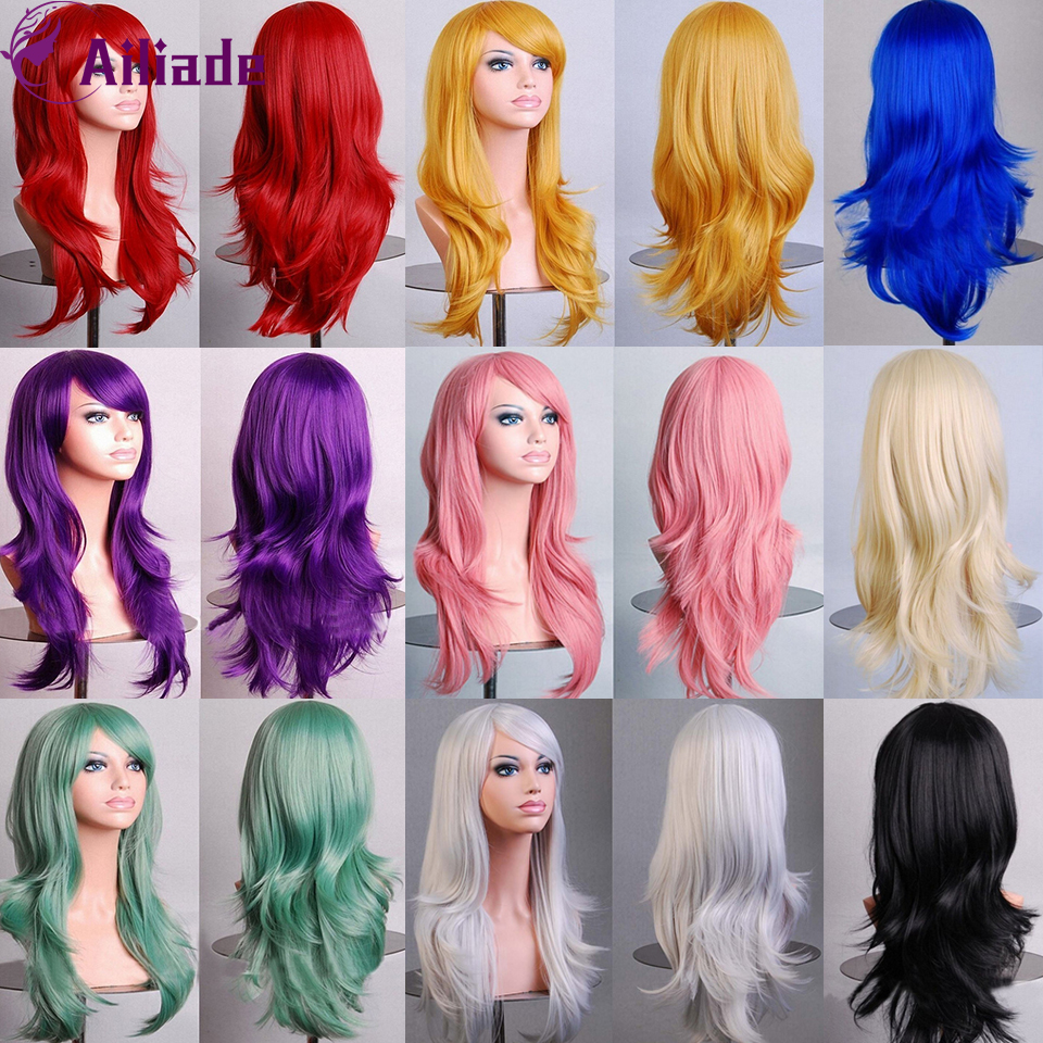 AILIADE Long Wavy Synthetic Wigs With Bangs Pink Yellow Red Blue Blonde 12 Colors Heat Resistant Fiber For Women Cosplay