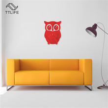 TTLIFE Friendly Mirror Sticker Owl Background Stereo Wall Home Decoration DIY Decals Plane Acrylic Crystal Stickers