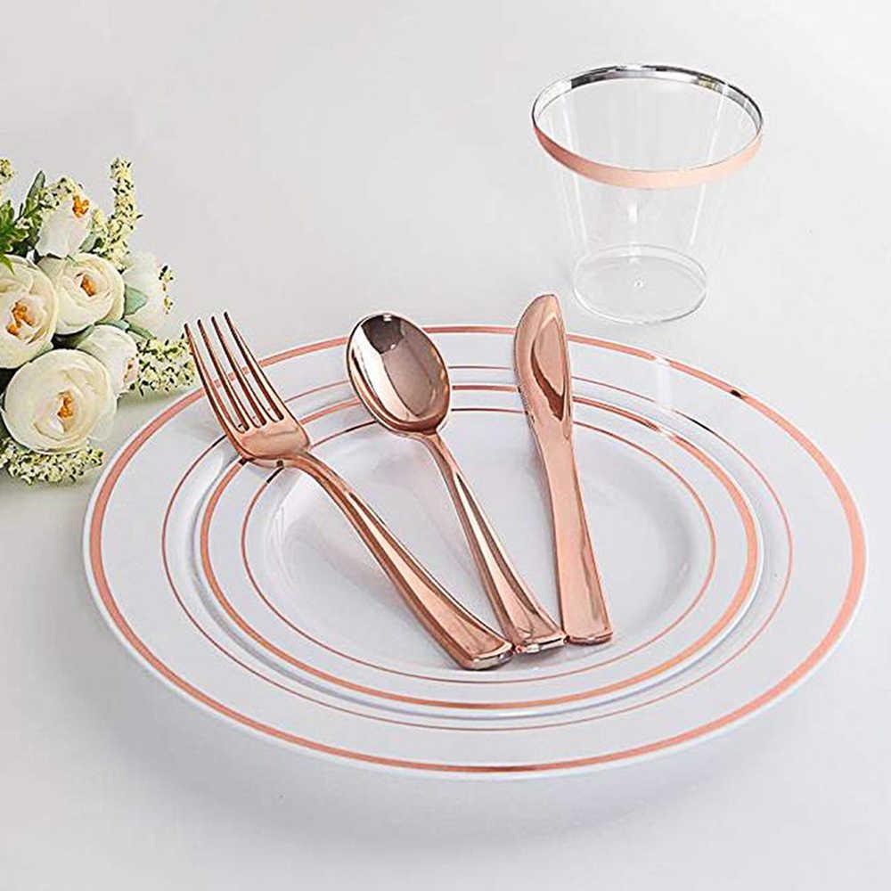 50 adet 8.5x5x7cm Tek Kullanımlık plastik bardaklar 9oz Gül Altın Kenarlı Şeffaf Şampanya Kırmızı Şarap Sofra düğün Doğum Günü Partisi için