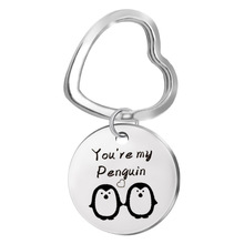 Stainless steel children's accessories you 're my penguin tag necklace pet key chain