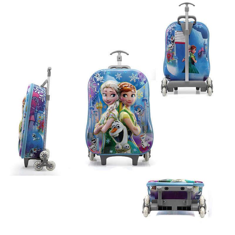 Kinderen 3D Koffer Kind Tas Meisje Trap Pull Doos Roller Multicolor Koffer School Rugzak met Wiel Trolley Case 5 Kleuren