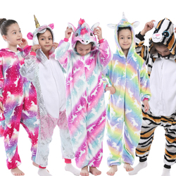 Children Kigurumi Unicorn Pajamas Kids Baby Animal Overalls Jumpsuit Onesie Panda Pajama Sleepwear Girls Cosplay Pyjama Pijamas