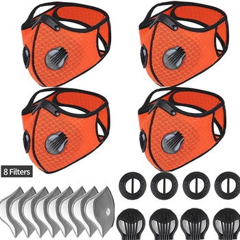 Orange Activated Carbon Mask PM 2.5 Filter Anti-pollution Breathable Bacteria-proof Outdoor Sports Working Facial Care Mask