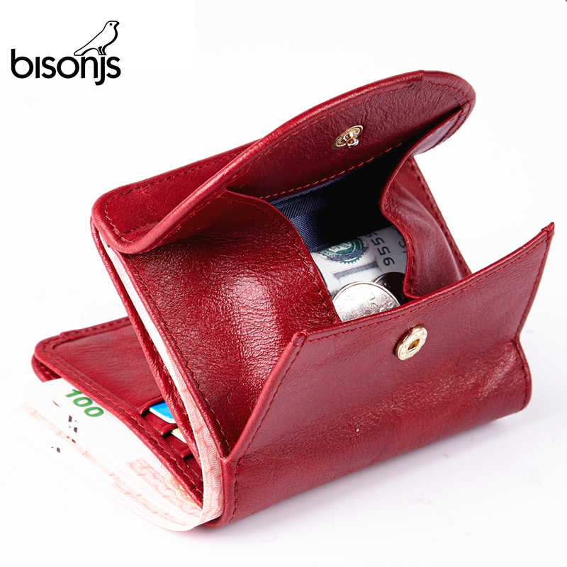 BISON DENIM Genuine Leather Wallet Women Fashion Card Holder Wallet Female Coin Purse Mini Clutch Money Bag For Girls B3274