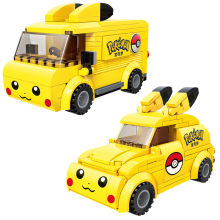Hot Cartoon Anime Pokemon Pikachu śliczny samochód Model autobusu klocki klocki ustawia klasyczny film lalki dla dzieci zabawki dla dzieci prezent