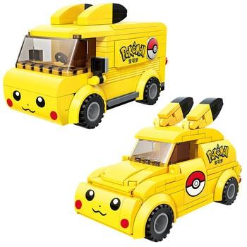 Hot Cartoon Anime Pokemon Pikachu Cute Car Bus Model Building Blocks Bricks Sets Classic Movie Dolls Kids Toys For Children Gift 1 sets kendo new lele swordsman ninjagoed movie kai lloyd sensei wu snake bronk zane nya blocks accessories gift kids toys