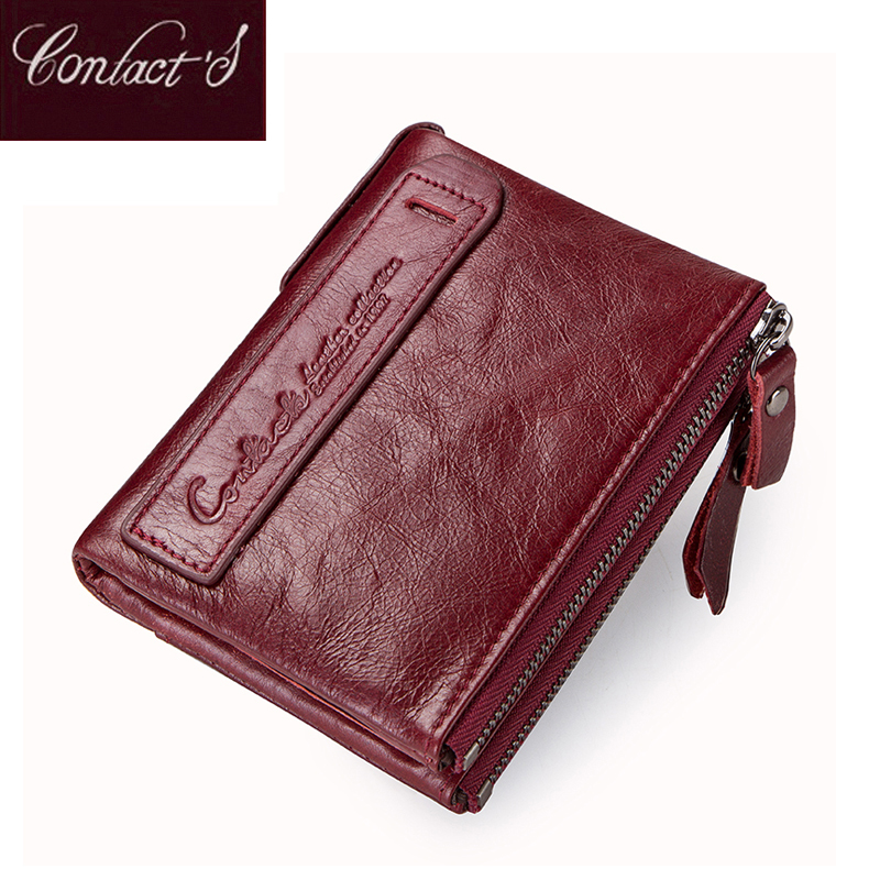 2021 Fashion Genuine Leather Women Wallet Bi fold Wallets Red ID Card Holder Coin Purse With Double Zipper Small Women's Purse
