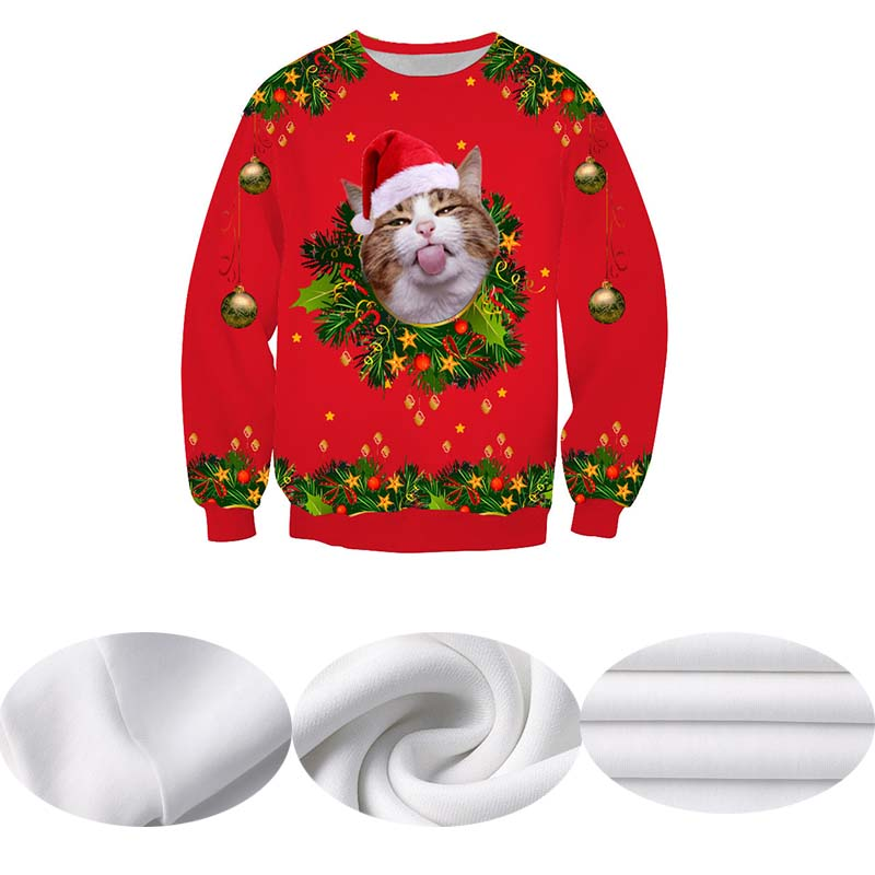 Unisex Men Women 2019 Ugly Christmas Sweater Santa Elf Funny Christmas Naughty Cat Jumper Autumn Winter Tops Clothing Wholesale