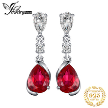 JewelryPalace 2.4ct Pear Red Created Ruby Drop Earrings 925 Sterling Silver 2017 New Fashion For Women Wedding Jewelry