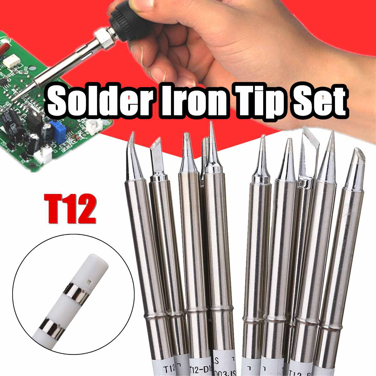 Drillpro 10pcs T12 Soldering Iron Tips Set Soldering Alloy Iron Tips Lead-free Solder Tips Welding Head Soldering Tools 155mm