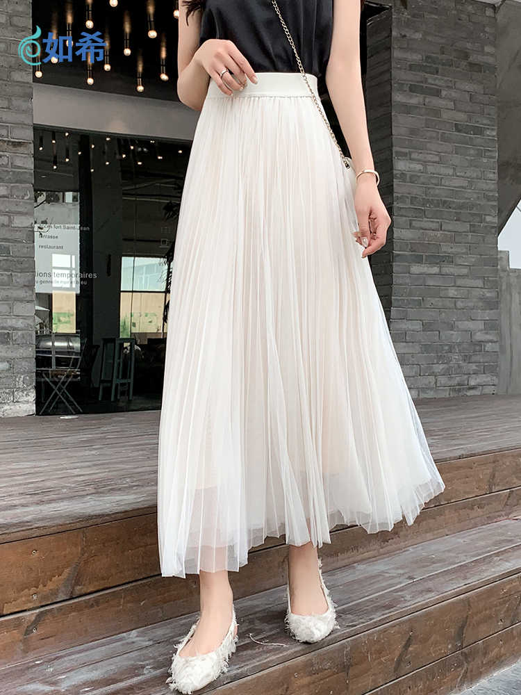 UK Women Lady Tulle Mesh Skirt Elastic High Waist Layers Pleated Maxi Long Dress