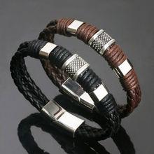 Мужской плетеный браслет из искусственной кожи коричневый 1