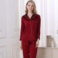 Women's Sleep & Lounge summer 100% silk Pajama Sets woman T8002