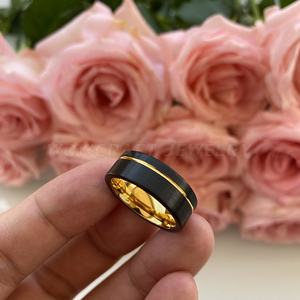 Image 3 - Black and Gold Mens Womens Tungsten Carbide Ring Wedding Band Matte Finish Pip Cut  Comfort Fit Offset Grooved Gift Anniversary