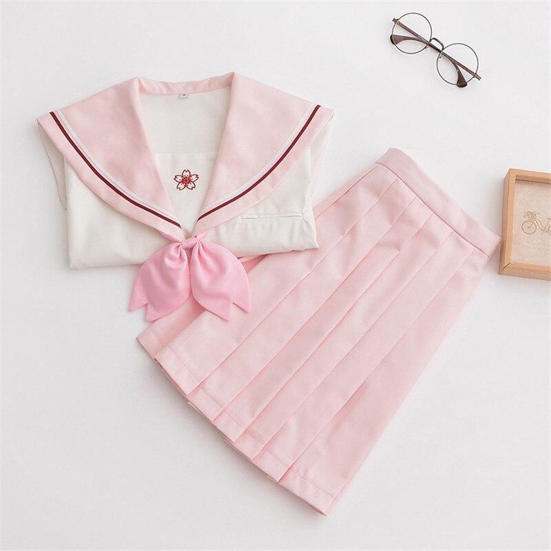 Soft Girl Japanese Sailor Suit Spring Summer Short Long Sleeve School Uniform Sweet Pink JK Uniforms  XXL