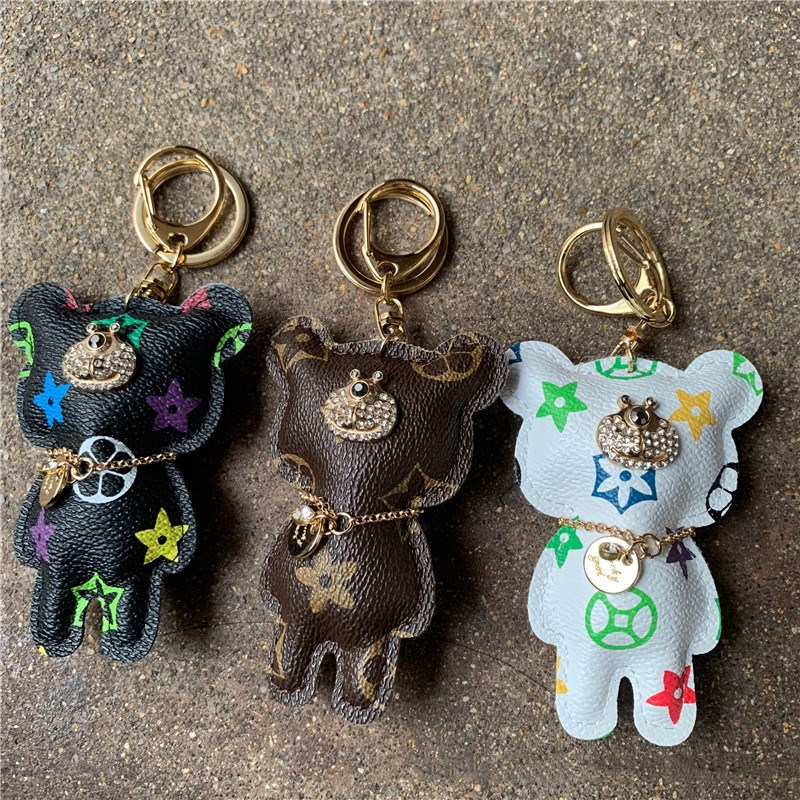 Fashion Trendy Prited Anlimal Bear Pendant Keychians Keyrings Key Chains  Jewelry Accessories Gift For Woman