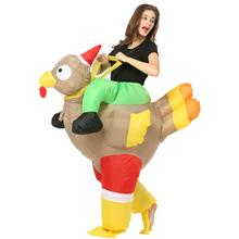 Christmas Inflatable Turkey Costume Blow Up Suit Party Carnival Cosplay Fancy Dress for Women Men Adult Rooster Chicken free delivery 13feet giant inflatable chicken hot sale nylon oxford blow up chicken model for advertising toys