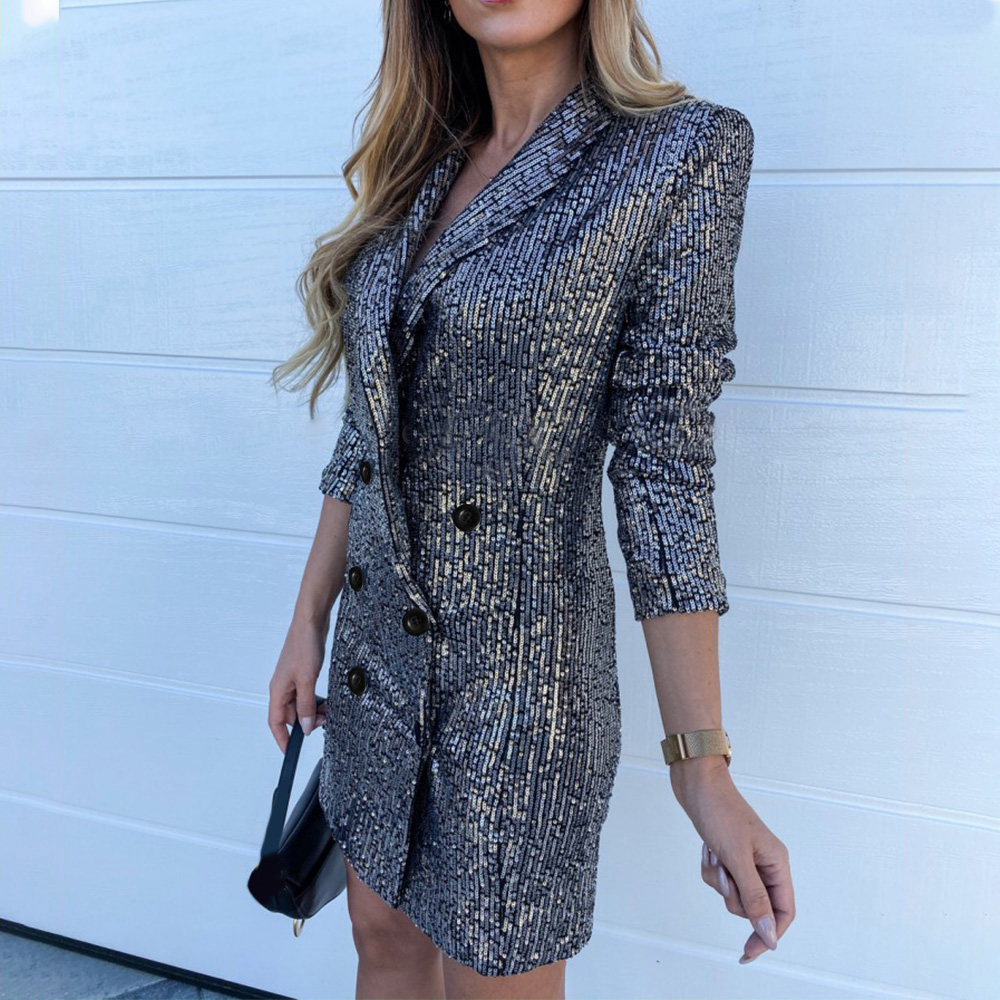 Sequined Blazer Women Spring Autumn Long Sleeve Club Party Suit Office Ladies Chic Double Breasted Casual Coat Shiny Outwear D20