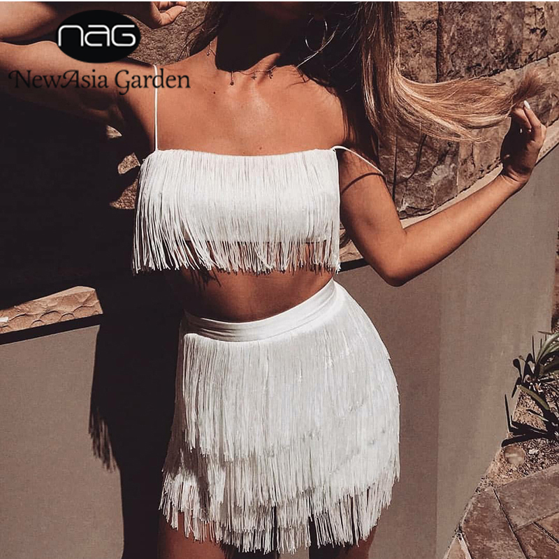 NewAsia Garden Two Piece Set Summer Fringed 2 Piece Set Women Tassel Crop Top And Skirt Set Sexy Outfits For Women Matching Sets