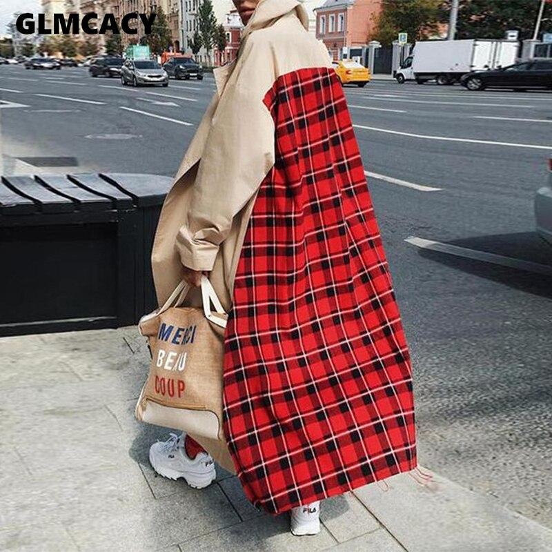 Women Plaid Splicing Long Trench Coat Chic Casual Spring Fall Street Wear Overcoat Plus Size Maxi X-Long Top Coat