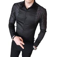Silver Shiny Patchwork Shirt 2021 New Fashion High Quality Men's Party Work Shirt Formal Slim Social Men's Wrinkle-free Shirt