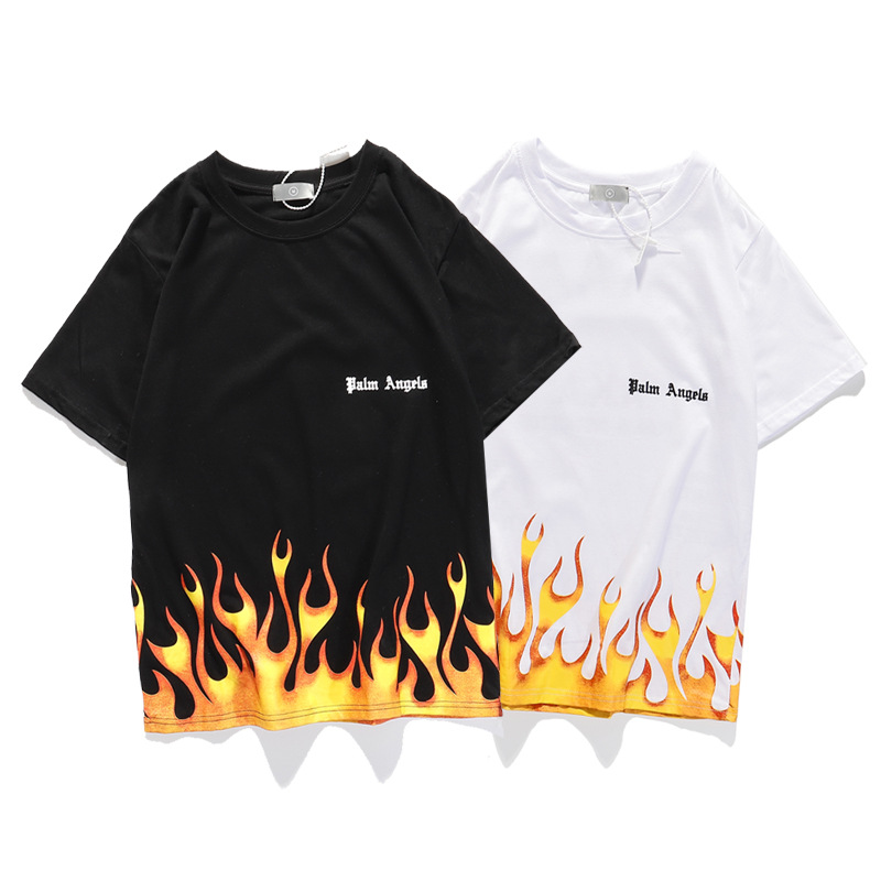 Online Celebrity Europe And America Skateboard Popular Brand PA Palm Angel Flame Lettered Printed Short Sleeve T-shirt Men And W