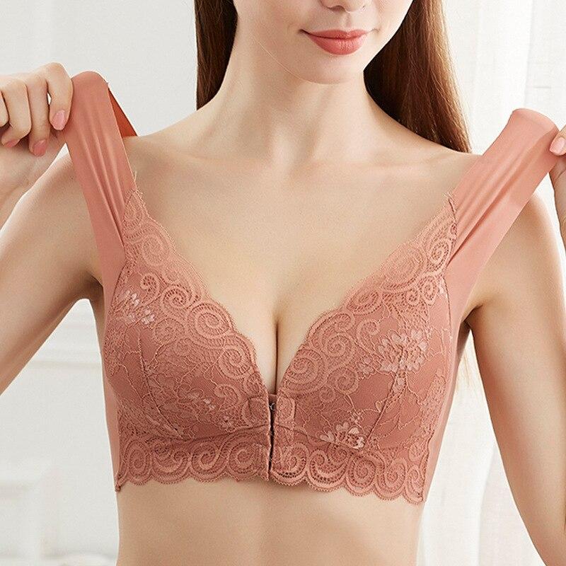 No Trace Behind Front Buckle No Rims  Large  Sexy Lace Lingeries Women Bras Vest Sleep Plus Size 6L  Bralette  Women's Underwear