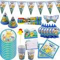 Мультяшный Покемон, товары для дня рождения, детская вечеринка, одноразовые украшения, набор посуды для вечеринки, бумажные чашки, бумажные ...