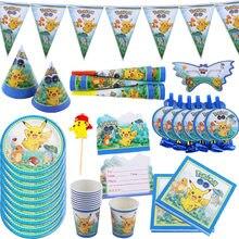 Desenhos animados pokemon festa de aniversário crianças festa suprimentos decorações descartáveis conjunto de utensílios de mesa copos de papel placas de papel