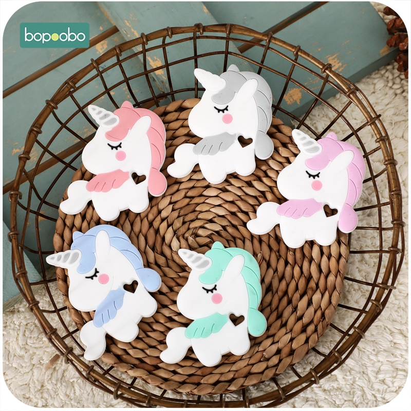 Bopoobo 1PC Baby Teether Silicone Unicorn Chewable BPA Free Rodent Baby Teething Tiny Rod Silicone Tooth Teether Kids Product