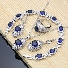 Bruids Zilveren 925 Sieraden Set Blauw Natuurlijke Zirkoon Kostuum Sieraden Kits Voor Vrouwen Oorbellen/Hanger/Ringen/Armband/Ketting Set