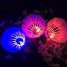 1 pçs peteca luminosa led noite escura brilho ganso esportes ao ar livre bola de badminton treinamento pena