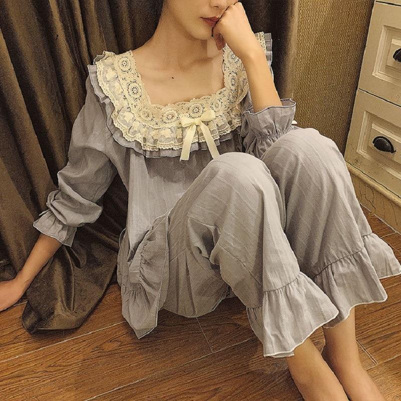 Vintage  Embroidery Women's Pajamas Sets Sweet Female White Comfortable Soft Cotton Pyjamas Long Sleeve Sleepwear Suits