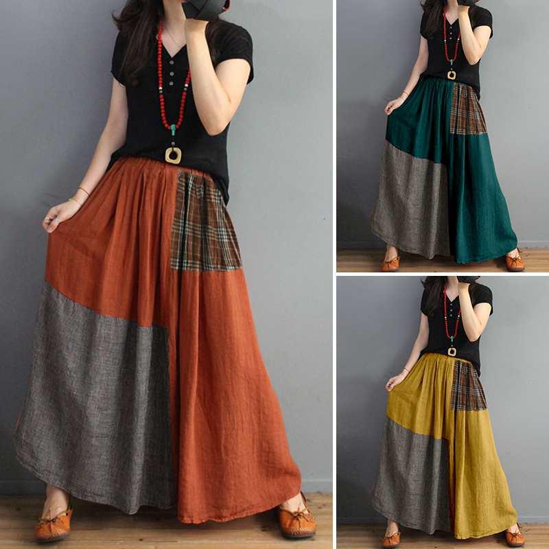 ZANZEA Summer Pockets Elastic Waist Maxi Faldas Tunic Print Skirt Women Patchwork Vestidos Casual Saia Robe Femme Plus Size 5XL