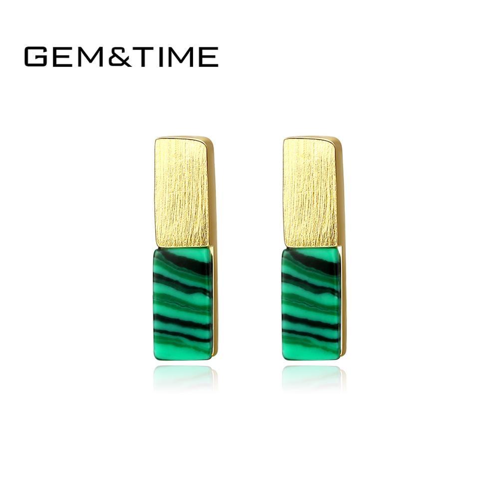 Gem&Time Real 925 Sterling Silver 10MM Bar Stud Earring For Women Green Malachite Earrings Silver 925 Jewelry Pendientes Plata