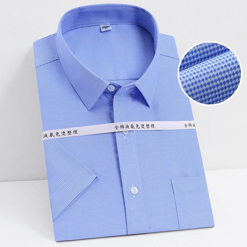 Summer  S~ 8XL Men's Dress Shirts Iron-Free Easy Care Short Sleeve Regular Fit Pocket Mens Formal Shirts For Work