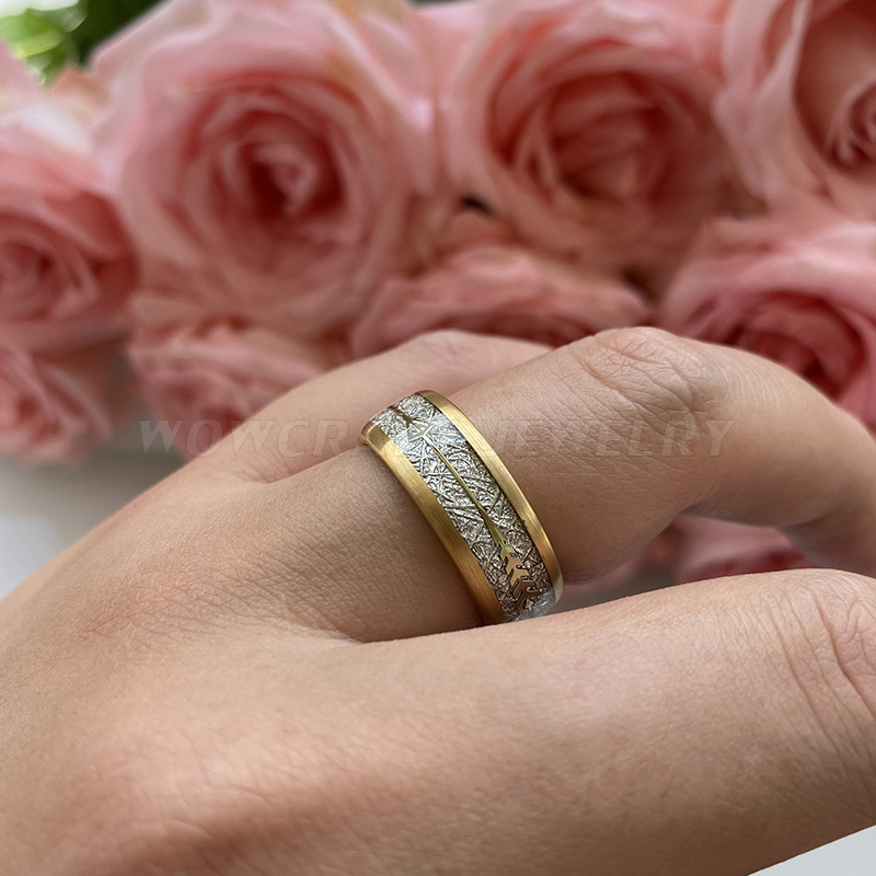 8mm New Cool Gold Mens Tungsten Carbide Ring Womens Wedding Band Meteorite Gold Arrow Inlay Comfort Fit 5